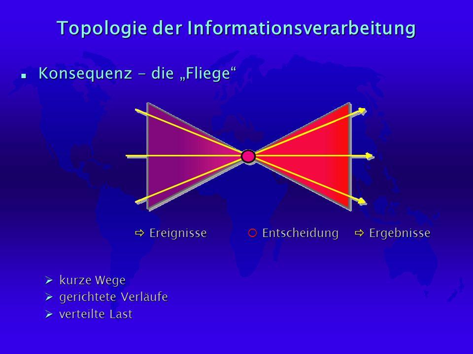 Topologie der Informationsverarbeitung n Konsequenz - die Fliege ¡Entscheidung ðErgebnisse ðEreignisse Økurze Wege Øgerichtete Verläufe Øverteilte Last