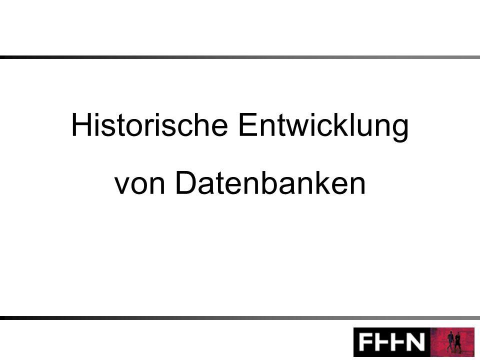 Historische Entwicklung von Datenbanken Jochen Löhl Mario Lörcher Ingo Sahm 22 2.2 Netzwerkdatenmodell Strukturelemente –Wie beim Hierarchischen Datenmodell bereits erwähnt: Objekttypen und hierarchische Beziehungen (1:mc- Beziehungen), die hier Set-Typen genannt werden –Im Netzwerkdatenmodell können nur binäre many-one (bzw.