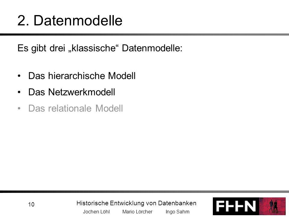 Historische Entwicklung von Datenbanken Jochen Löhl Mario Lörcher Ingo Sahm 10 Es gibt drei klassische Datenmodelle: Das hierarchische Modell Das Netz