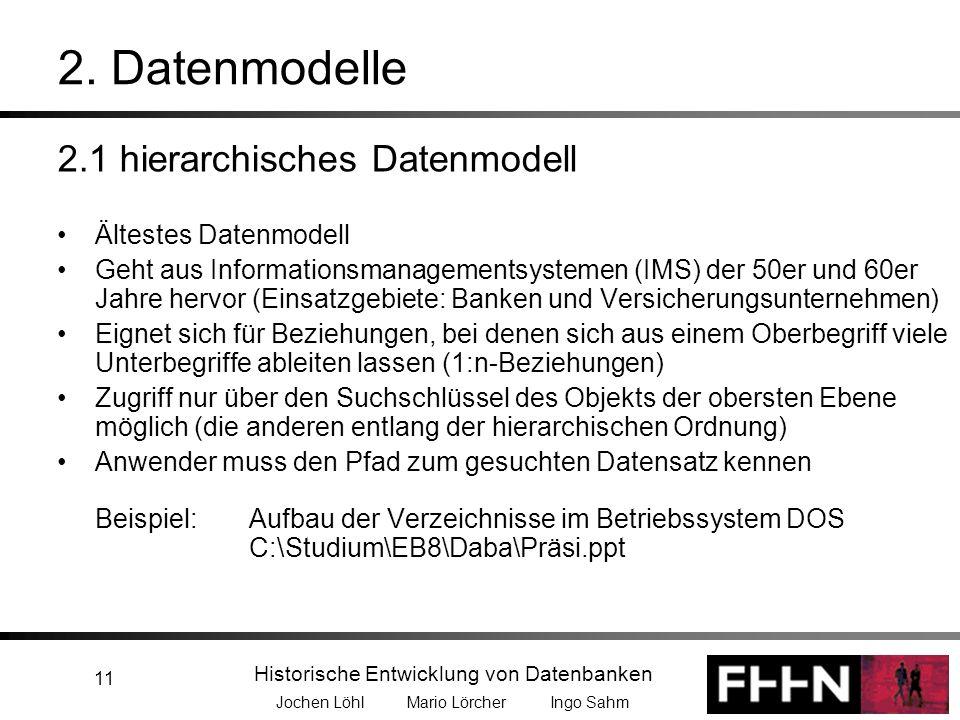 Historische Entwicklung von Datenbanken Jochen Löhl Mario Lörcher Ingo Sahm 11 2. Datenmodelle 2.1 hierarchisches Datenmodell Ältestes Datenmodell Geh