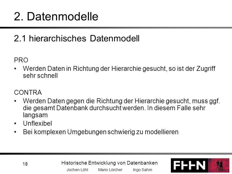 Historische Entwicklung von Datenbanken Jochen Löhl Mario Lörcher Ingo Sahm 18 2. Datenmodelle 2.1 hierarchisches Datenmodell PRO Werden Daten in Rich