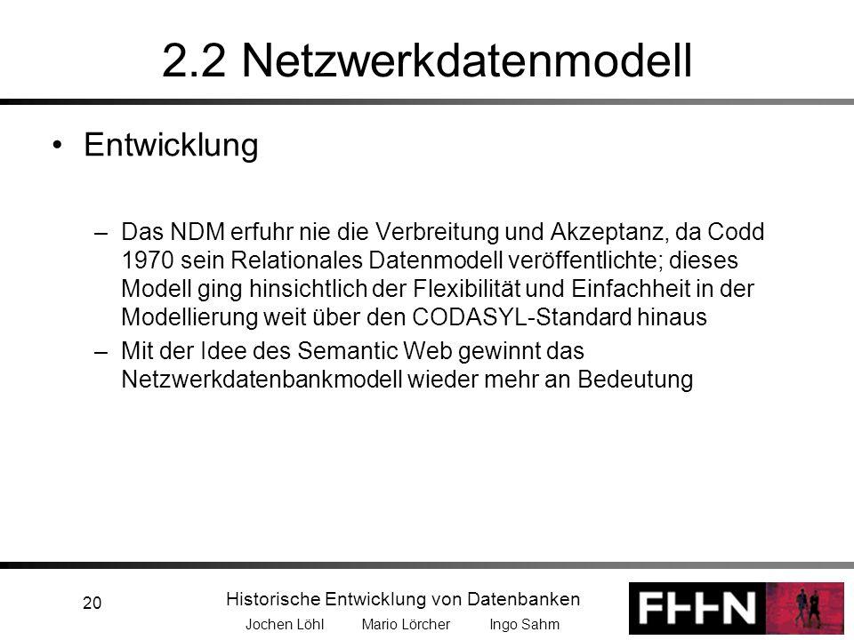Historische Entwicklung von Datenbanken Jochen Löhl Mario Lörcher Ingo Sahm 20 2.2 Netzwerkdatenmodell Entwicklung –Das NDM erfuhr nie die Verbreitung