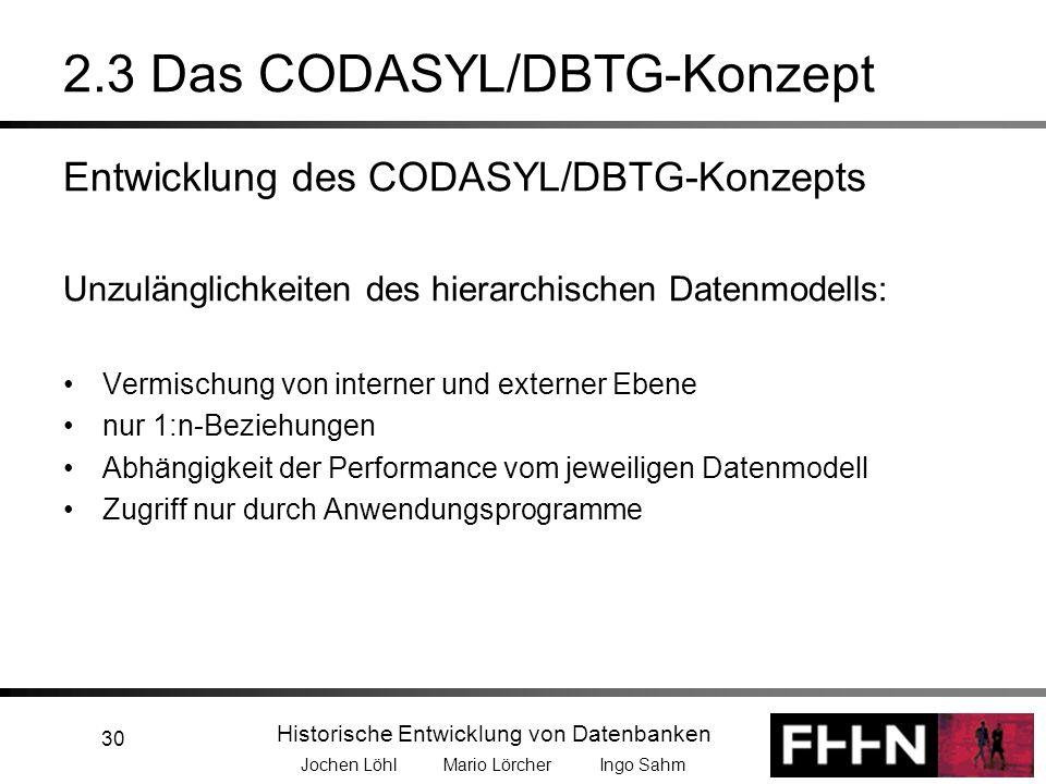 Historische Entwicklung von Datenbanken Jochen Löhl Mario Lörcher Ingo Sahm 30 2.3 Das CODASYL/DBTG-Konzept Entwicklung des CODASYL/DBTG-Konzepts Unzu