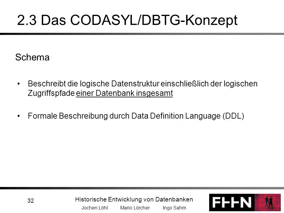 Historische Entwicklung von Datenbanken Jochen Löhl Mario Lörcher Ingo Sahm 32 2.3 Das CODASYL/DBTG-Konzept Beschreibt die logische Datenstruktur eins