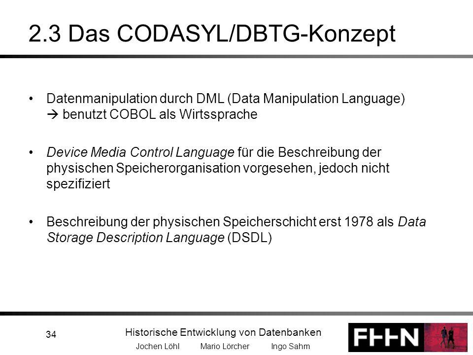 Historische Entwicklung von Datenbanken Jochen Löhl Mario Lörcher Ingo Sahm 34 2.3 Das CODASYL/DBTG-Konzept Datenmanipulation durch DML (Data Manipula