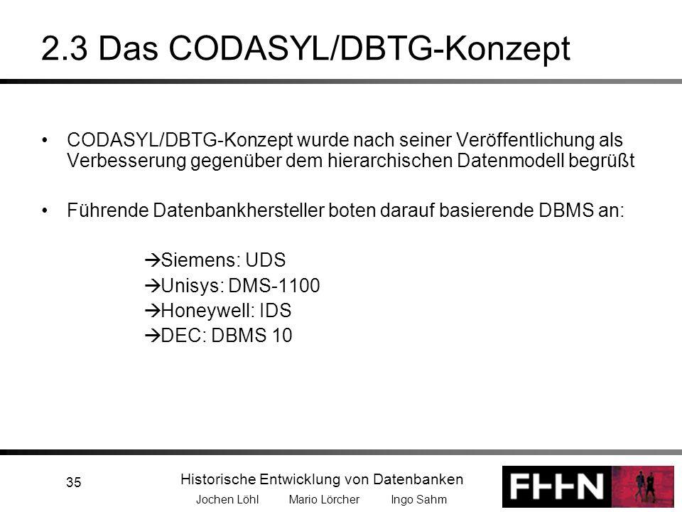 Historische Entwicklung von Datenbanken Jochen Löhl Mario Lörcher Ingo Sahm 35 2.3 Das CODASYL/DBTG-Konzept CODASYL/DBTG-Konzept wurde nach seiner Ver