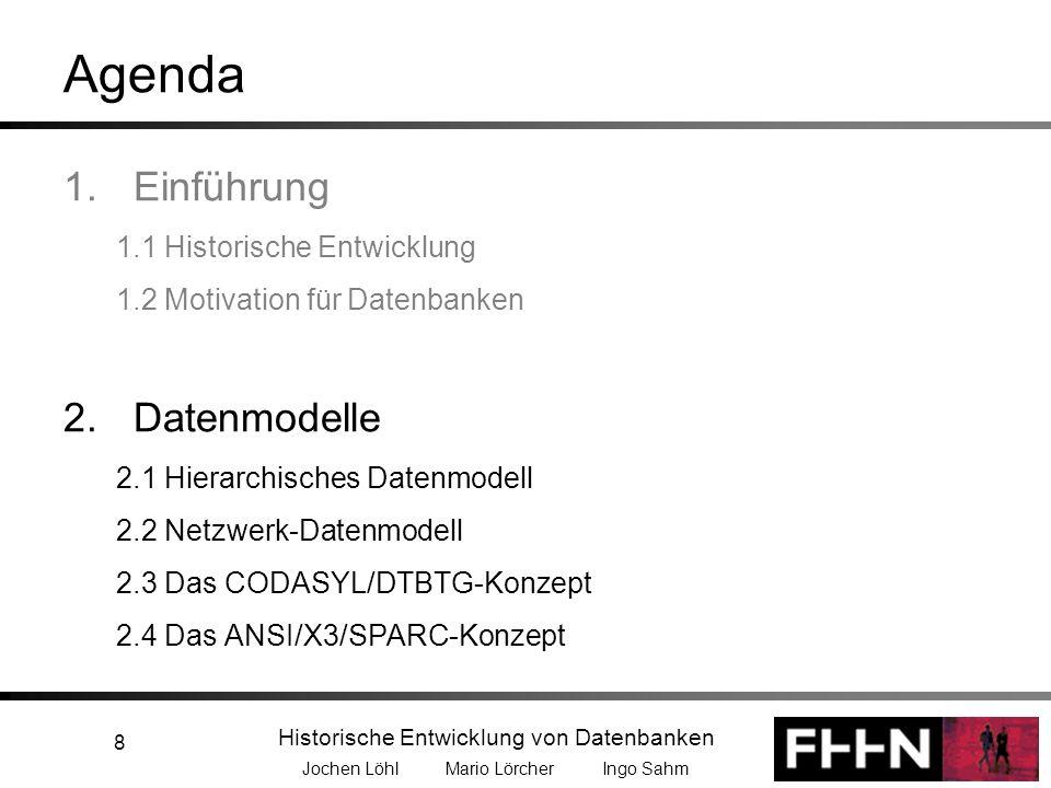 Historische Entwicklung von Datenbanken Jochen Löhl Mario Lörcher Ingo Sahm 8 Agenda 1.Einführung 1.1 Historische Entwicklung 1.2 Motivation für Daten