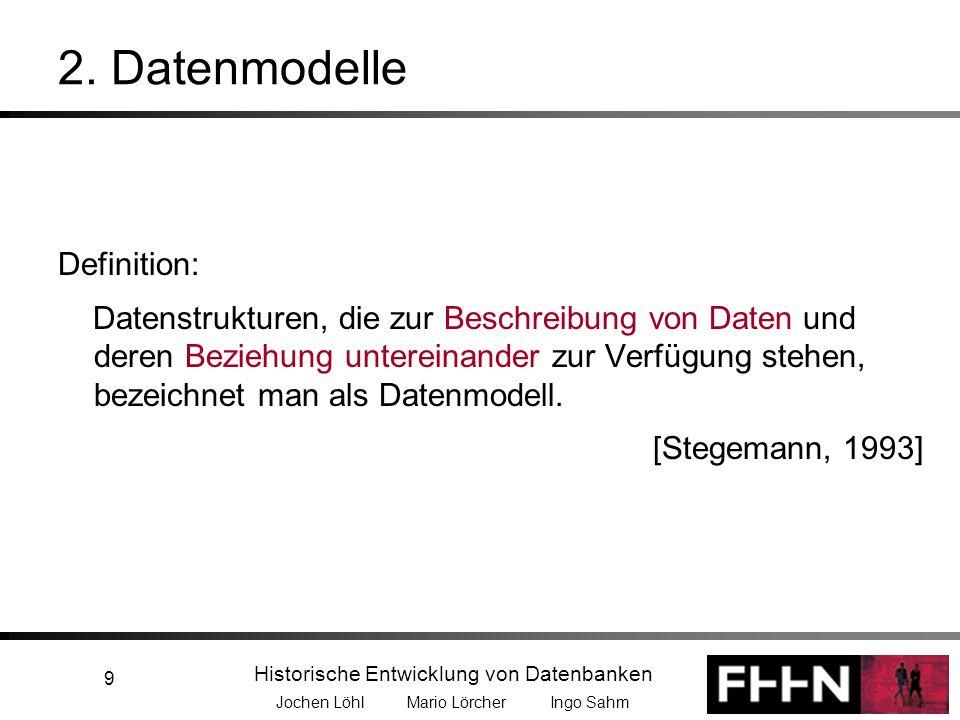 Historische Entwicklung von Datenbanken Jochen Löhl Mario Lörcher Ingo Sahm 20 2.2 Netzwerkdatenmodell Entwicklung –Das NDM erfuhr nie die Verbreitung und Akzeptanz, da Codd 1970 sein Relationales Datenmodell veröffentlichte; dieses Modell ging hinsichtlich der Flexibilität und Einfachheit in der Modellierung weit über den CODASYL-Standard hinaus –Mit der Idee des Semantic Web gewinnt das Netzwerkdatenbankmodell wieder mehr an Bedeutung