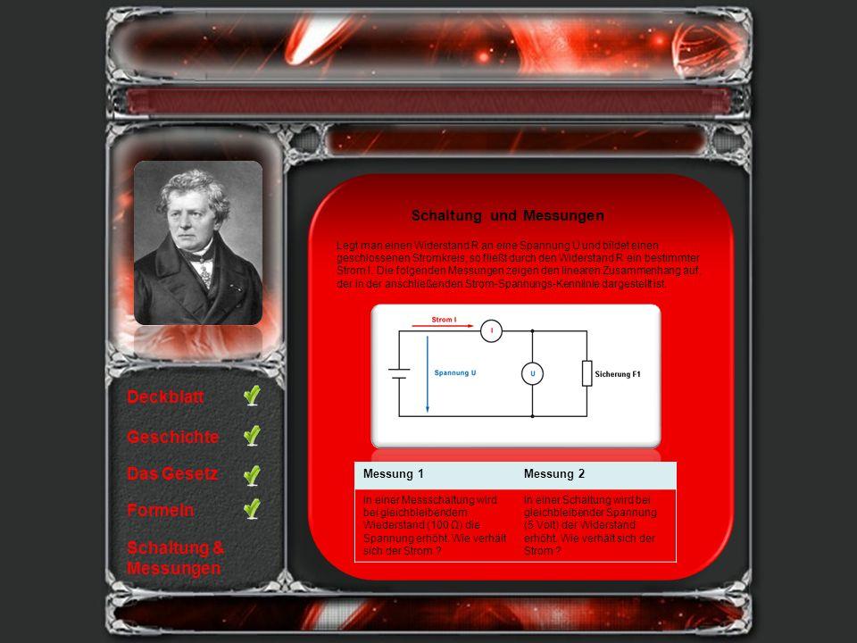 Deckblatt Geschichte Das Gesetz Formeln Schaltung & Messungen Legt man einen Widerstand R an eine Spannung U und bildet einen geschlossenen Stromkreis