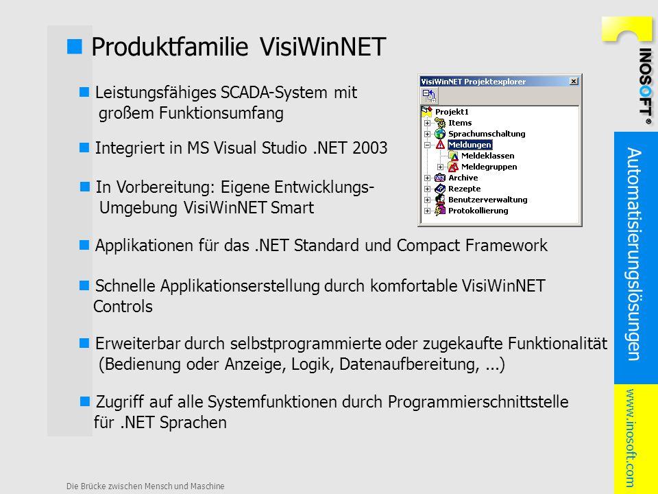 Automatisierungslösungen www.inosoft.com Die Brücke zwischen Mensch und Maschine Produktfamilie VisiWinNET Leistungsfähiges SCADA-System mit großem Fu