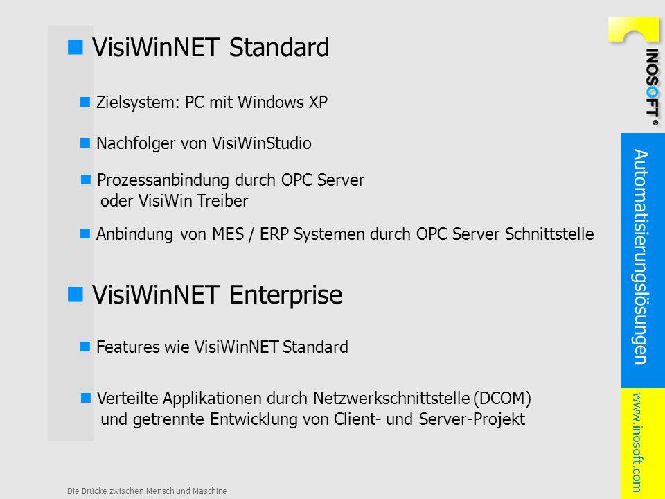 Automatisierungslösungen www.inosoft.com Die Brücke zwischen Mensch und Maschine VisiWinNET Standard Zielsystem: PC mit Windows XP Anbindung von MES /