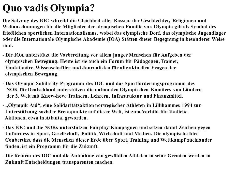 Quo vadis Olympia? Die Satzung des IOC schreibt die Gleichheit aller Rassen, der Geschlechter, Religionen und Weltanschauungen für die Mitglieder der