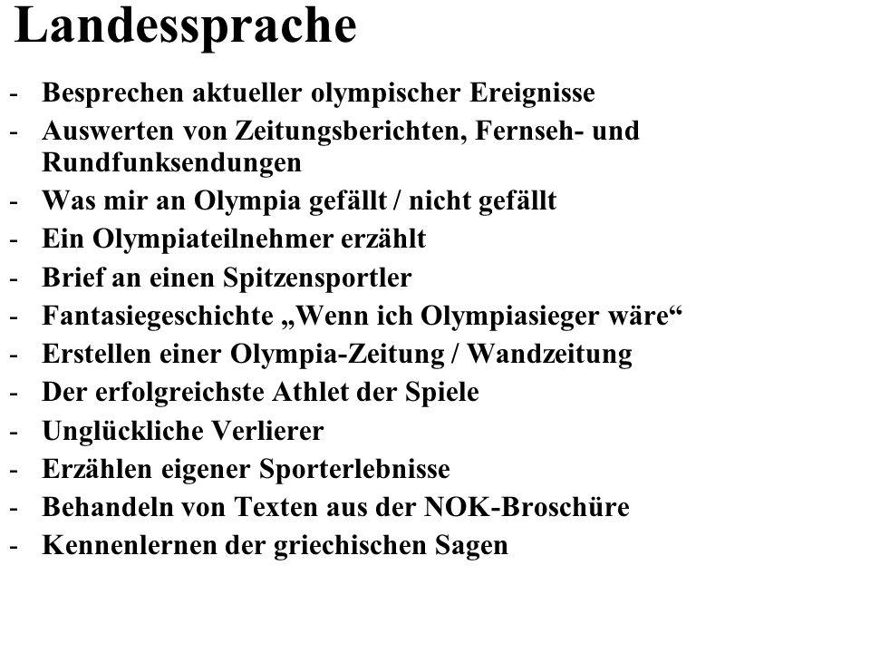 Landessprache -Besprechen aktueller olympischer Ereignisse -Auswerten von Zeitungsberichten, Fernseh- und Rundfunksendungen -Was mir an Olympia gefäll