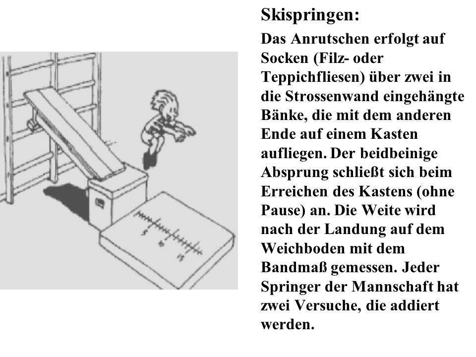 Skispringen: Das Anrutschen erfolgt auf Socken (Filz- oder Teppichfliesen) über zwei in die Strossenwand eingehängte Bänke, die mit dem anderen Ende a