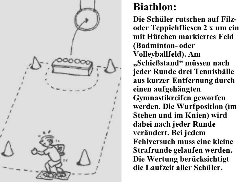 Biathlon: Die Schüler rutschen auf Filz- oder Teppichfliesen 2 x um ein mit Hütchen markiertes Feld (Badminton- oder Volleyballfeld). Am Schießstand m