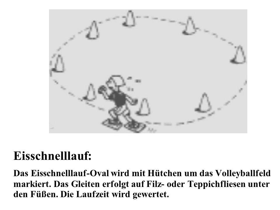 Eisschnelllauf: Das Eisschnelllauf-Oval wird mit Hütchen um das Volleyballfeld markiert. Das Gleiten erfolgt auf Filz- oder Teppichfliesen unter den F