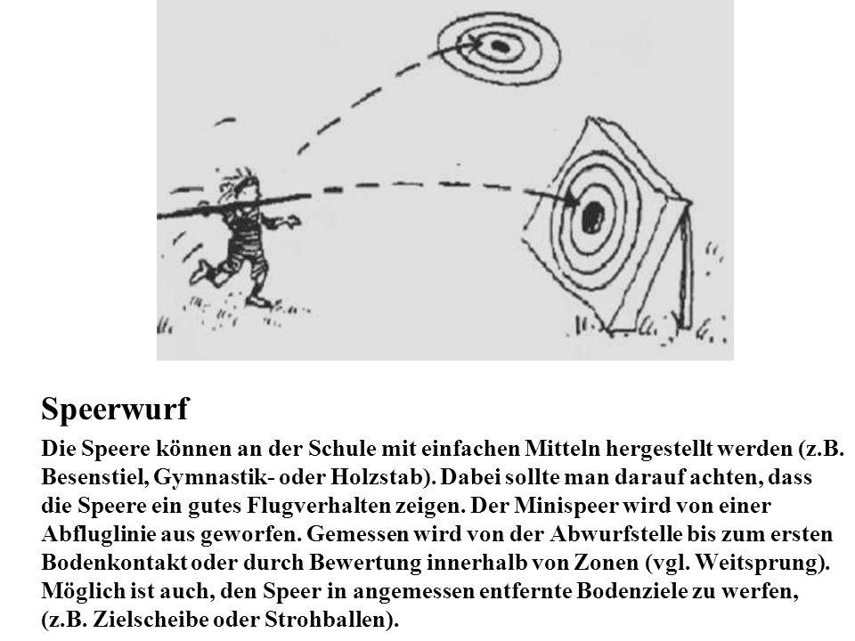 Speerwurf Die Speere können an der Schule mit einfachen Mitteln hergestellt werden (z.B. Besenstiel, Gymnastik- oder Holzstab). Dabei sollte man darau