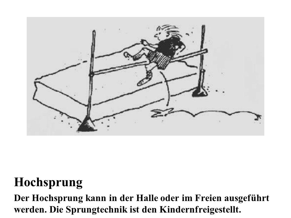 Hochsprung Der Hochsprung kann in der Halle oder im Freien ausgeführt werden. Die Sprungtechnik ist den Kindernfreigestellt.