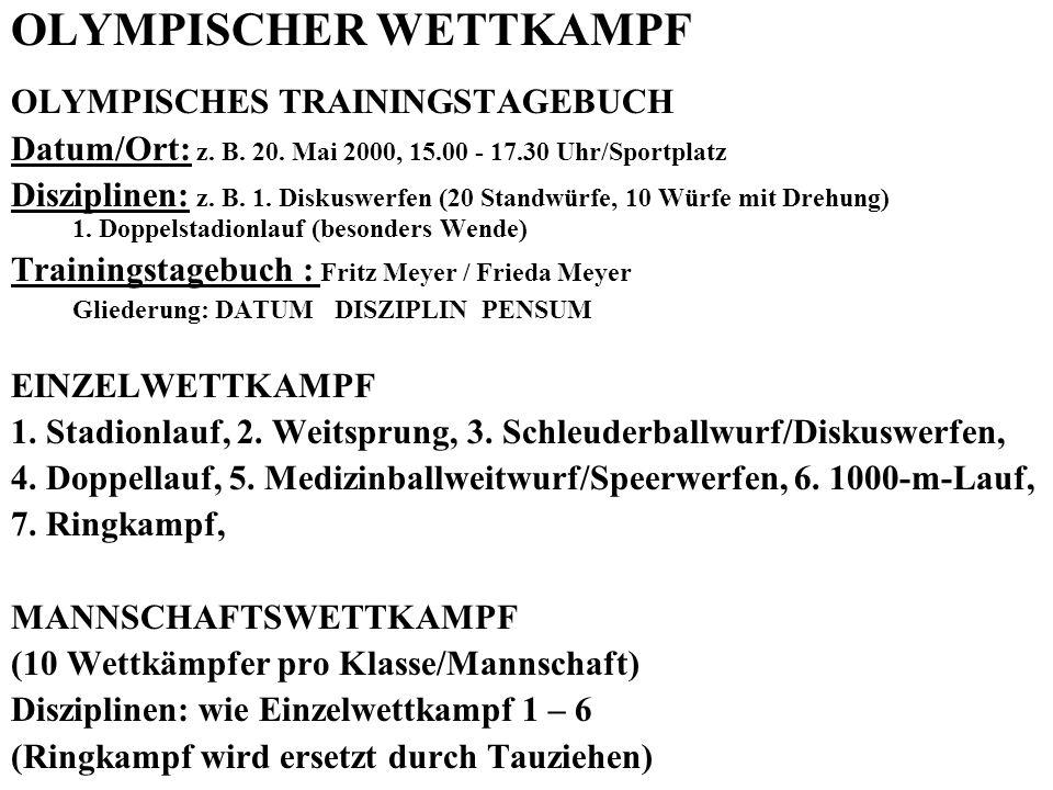 OLYMPISCHER WETTKAMPF OLYMPISCHES TRAININGSTAGEBUCH Datum/Ort: z. B. 20. Mai 2000, 15.00 - 17.30 Uhr/Sportplatz Disziplinen: z. B. 1. Diskuswerfen (20