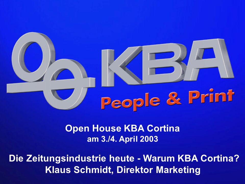 KBA 03./04.04.2003 KSC 10 9 8 7 6 4 5 3 2 1 Achterturmbauweisen für den 4/4-Druck Bauhöhe (in m) HEUTE: Achterturmbauweise mit Brückendruckeinheiten HEUTE: Achterturmbauweise mit H-Druckeinheiten MORGEN: KBA Cortina