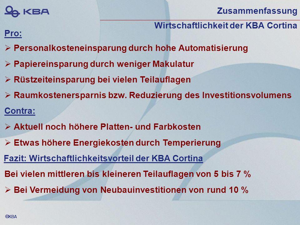 KBA Zusammenfassung Wirtschaftlichkeit der KBA Cortina Personalkosteneinsparung durch hohe Automatisierung Papiereinsparung durch weniger Makulatur Rü