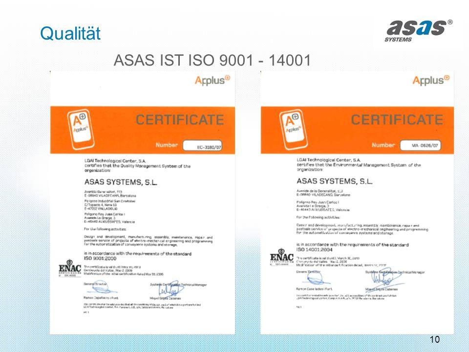 10 Qualität ASAS IST ISO 9001 - 14001