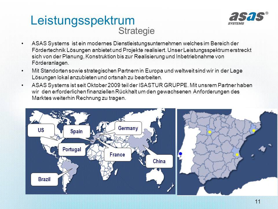 11 Brazil Portugal Spain China Germany France US Strategie Leistungsspektrum ASAS Systems ist ein modernes Dienstleistungsunternehmen welches im Berei