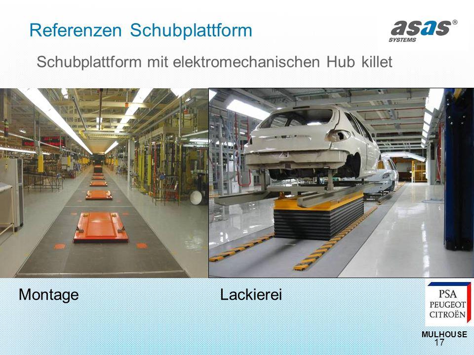 17 Schubplattform mit elektromechanischen Hub killet MULHOUSE MontageLackierei Referenzen Schubplattform