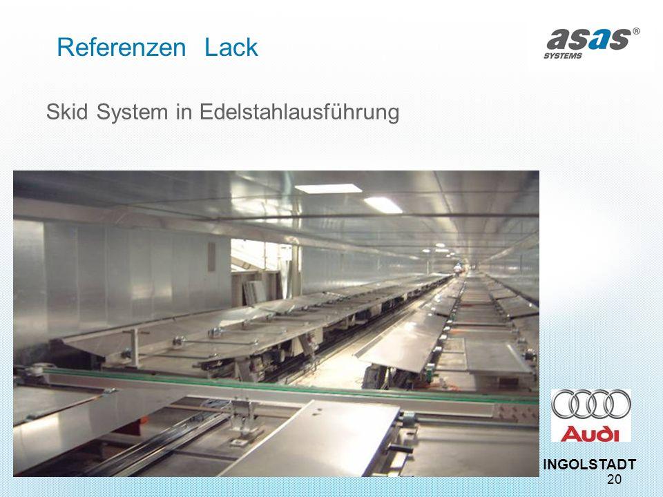 20 Referenzen Lack Skid System in Edelstahlausführung INGOLSTADT