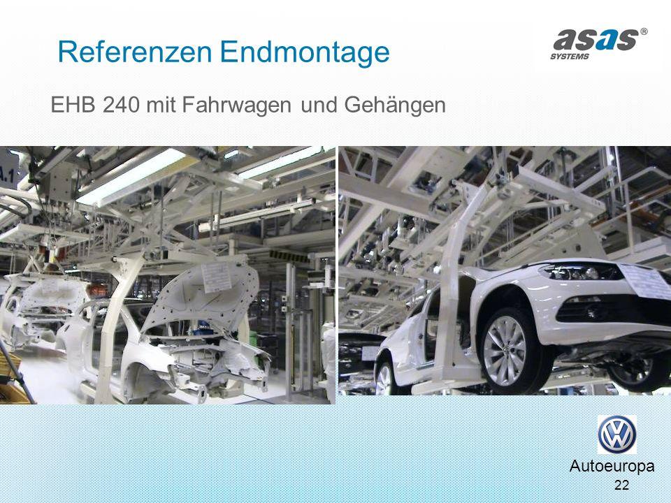 22 EHB 240 mit Fahrwagen und Gehängen Autoeuropa Referenzen Endmontage