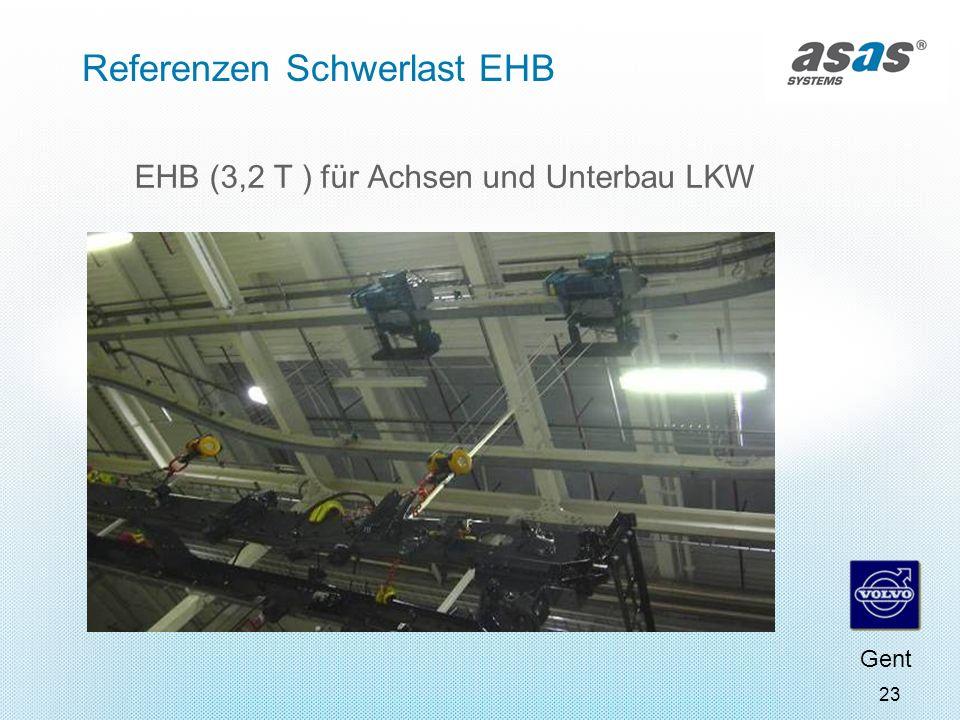 23 Referenzen Schwerlast EHB EHB (3,2 T ) für Achsen und Unterbau LKW Gent