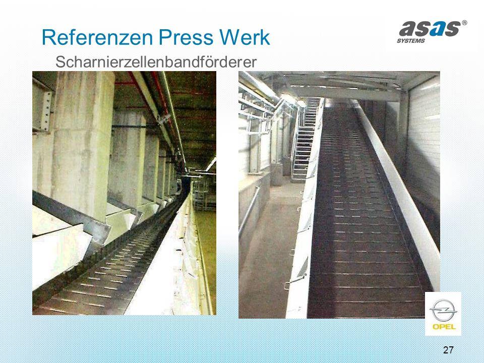 27 Scharnierzellenbandförderer Referenzen Press Werk