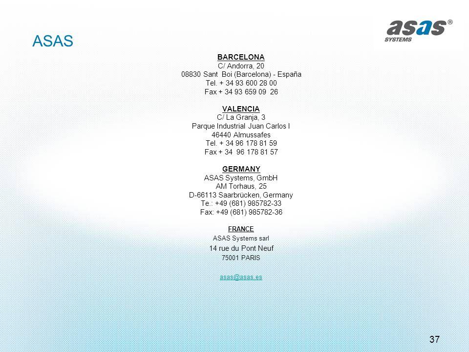 37 ASAS BARCELONA C/ Andorra, 20 08830 Sant Boi (Barcelona) - España Tel. + 34 93 600 28 00 Fax + 34 93 659 09 26 VALENCIA C/ La Granja, 3 Parque Indu