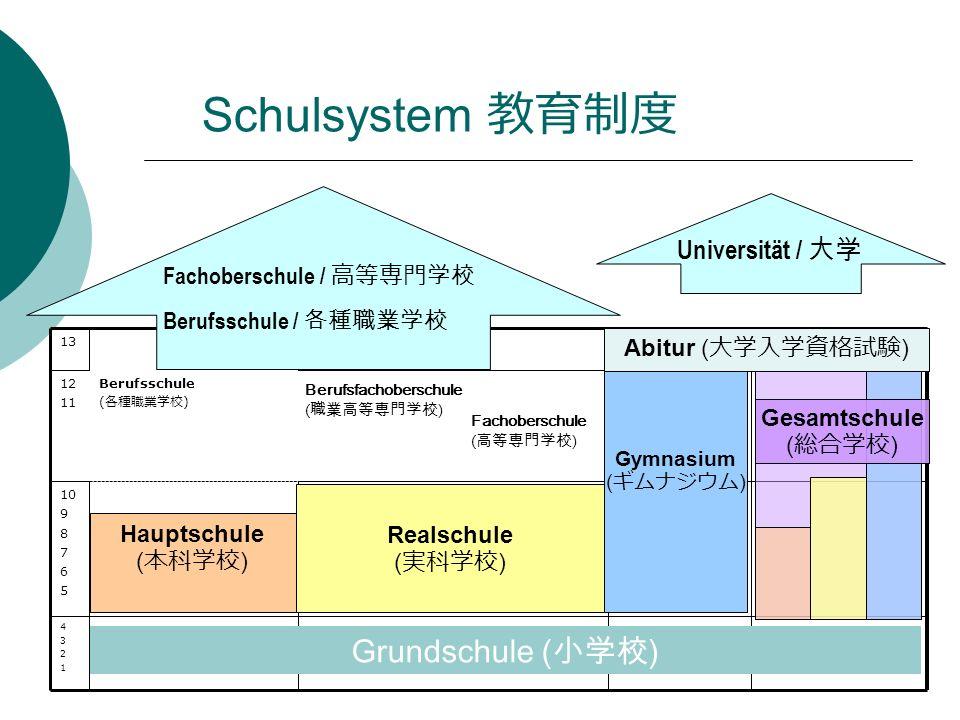 43214321 10 9 8 7 6 5 Berufsschule ( ) 12 11 13 Grundschule () Berufsfachoberschule () Fachoberschule () Universität / Fachoberschule / Berufsschule / Hauptschule ( ) Realschule ( ) Gymnasium ( ) Abitur ( ) Gesamtschule ( ) Schulsystem