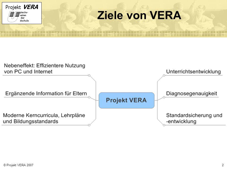 Projekt VERA VERgleichs- Arbeiten in der Grundschule 2© Projekt VERA 2007 Ziele von VERA
