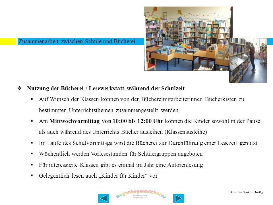 Zusammenarbeit zwischen Schule und Bücherei Austausch zwischen Schule und Bücherei Findet regelmäßig statt, da die Organisatorin auch Lehrerin an der Schule ist Im Hinblick auf eine Steigerung der Lesefähigkeit und –fertigkeit wird die Klassenausleihe intensiv genutzt, d.h.