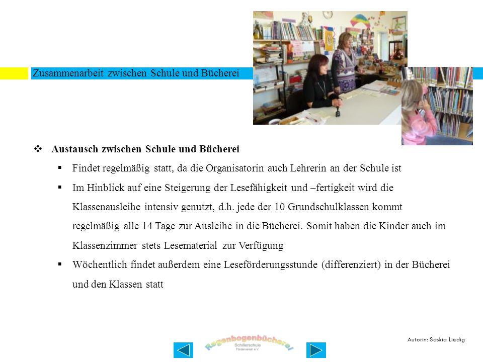 Zusammenarbeit zwischen Schule und Bücherei Austausch zwischen Schule und Bücherei Findet regelmäßig statt, da die Organisatorin auch Lehrerin an der