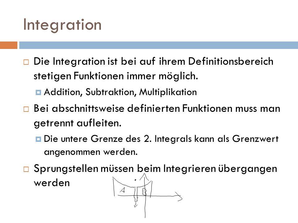 Integration Die Integration ist bei auf ihrem Definitionsbereich stetigen Funktionen immer möglich. Addition, Subtraktion, Multiplikation Bei abschnit