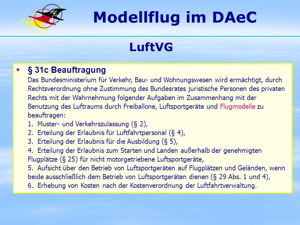 Modellflug im DAeC LuftVG § 31c Beauftragung Das Bundesministerium für Verkehr, Bau- und Wohnungswesen wird ermächtigt, durch Rechtsverordnung ohne Zu