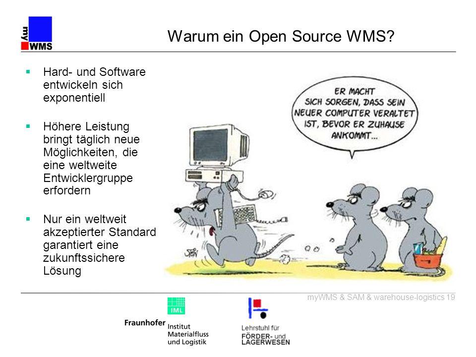 myWMS & SAM & warehouse-logistics 19 Warum ein Open Source WMS? Hard- und Software entwickeln sich exponentiell Höhere Leistung bringt täglich neue Mö