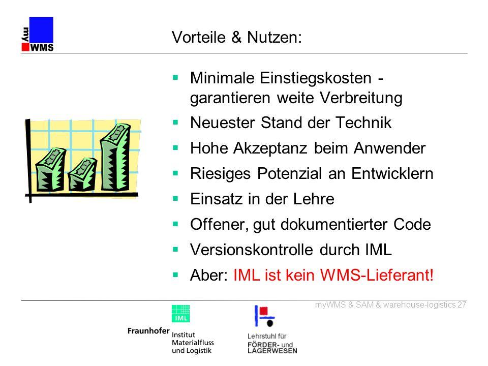 myWMS & SAM & warehouse-logistics 27 Vorteile & Nutzen: Minimale Einstiegskosten - garantieren weite Verbreitung Neuester Stand der Technik Hohe Akzep