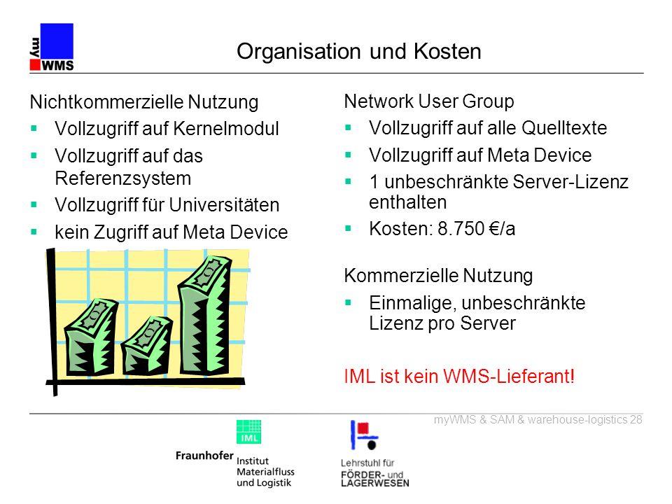 myWMS & SAM & warehouse-logistics 28 Organisation und Kosten Network User Group Vollzugriff auf alle Quelltexte Vollzugriff auf Meta Device 1 unbeschr