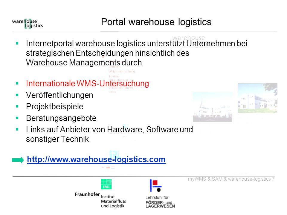 myWMS & SAM & warehouse-logistics 7 Portal warehouse logistics Internetportal warehouse logistics unterstützt Unternehmen bei strategischen Entscheidu