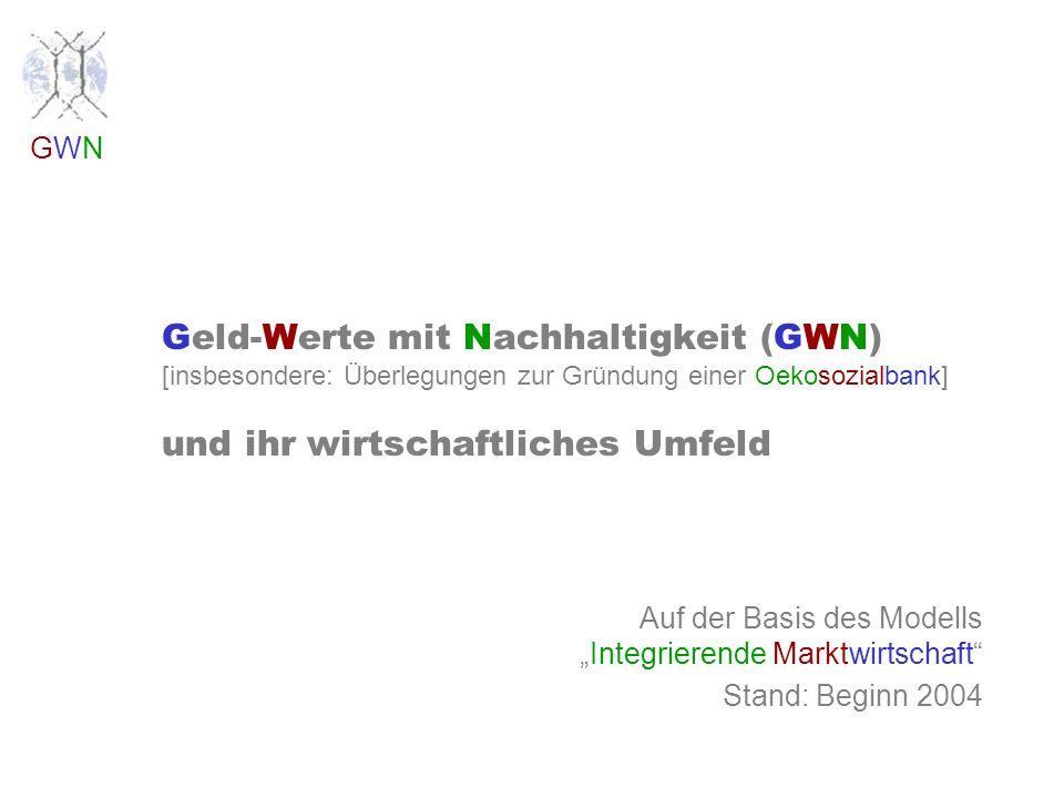 GWNGWN Geld-Werte mit Nachhaltigkeit (GWN) [insbesondere: Überlegungen zur Gründung einer Oekosozialbank] und ihr wirtschaftliches Umfeld Auf der Basis des ModellsIntegrierende Marktwirtschaft Stand: Beginn 2004