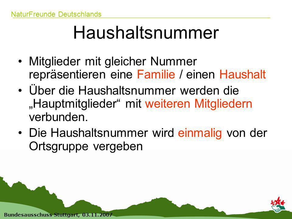 10 Bundesausschuss Stuttgart, 03.11.2007 NaturFreunde Deutschlands Haushaltsnummer Mitglieder mit gleicher Nummer repräsentieren eine Familie / einen