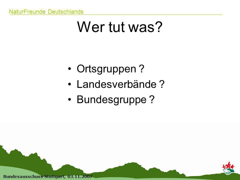 16 Bundesausschuss Stuttgart, 03.11.2007 NaturFreunde Deutschlands Wer tut was.