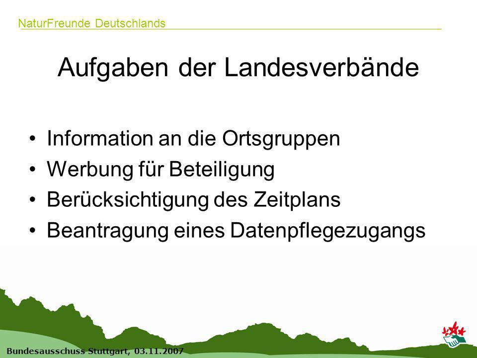 20 Bundesausschuss Stuttgart, 03.11.2007 NaturFreunde Deutschlands Aufgaben der Landesverbände Information an die Ortsgruppen Werbung für Beteiligung Berücksichtigung des Zeitplans Beantragung eines Datenpflegezugangs