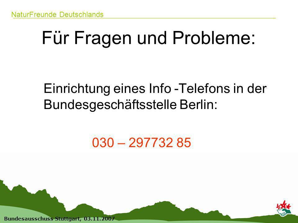22 Bundesausschuss Stuttgart, 03.11.2007 NaturFreunde Deutschlands Für Fragen und Probleme: Einrichtung eines Info -Telefons in der Bundesgeschäftsstelle Berlin: 030 – 297732 85