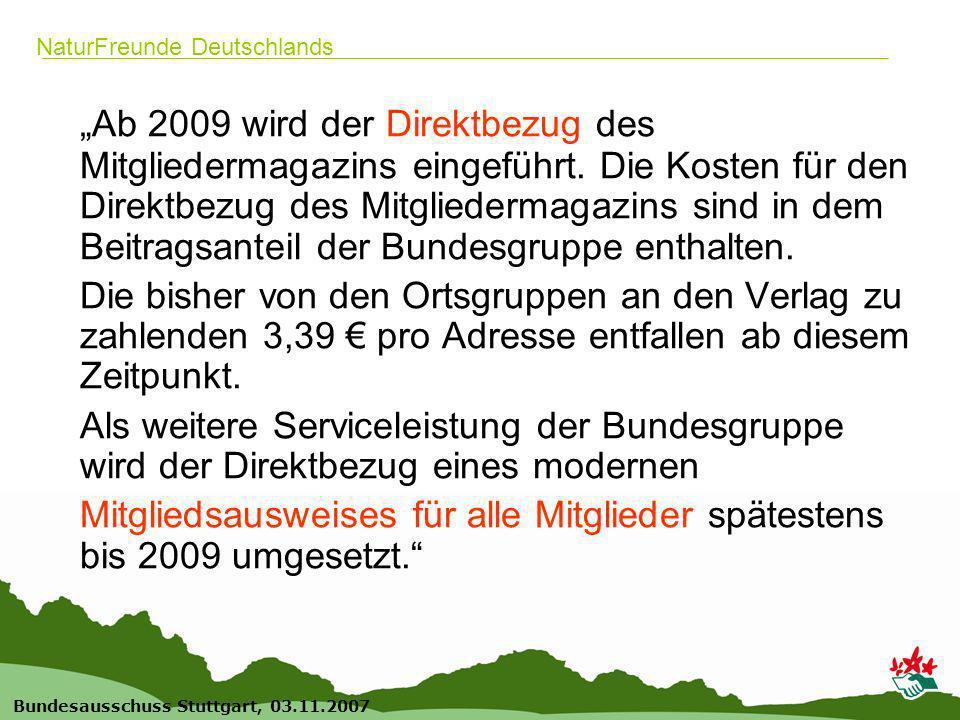 3 Bundesausschuss Stuttgart, 03.11.2007 NaturFreunde Deutschlands Ab 2009 wird der Direktbezug des Mitgliedermagazins eingeführt. Die Kosten für den D
