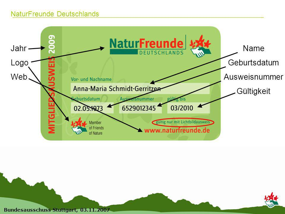 18 Bundesausschuss Stuttgart, 03.11.2007 NaturFreunde Deutschlands Wichtig für die Ortsgruppen: Bestellung der Ausweise (für neue und alte Mitglieder) Online bestellen durch Freigabe-Klick oder in der BGS Eine Freigabe ist immer erforderlich.